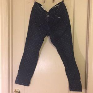Gap Dark Wash Polka Dot Always Skinny Ankle Jean